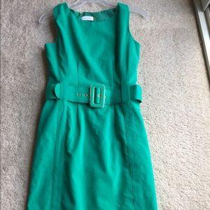 Green Calvin Klein belted dress